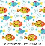cartoon baby fish seamless... | Shutterstock .eps vector #1940806585