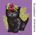 fluffy little black kitten with ... | Shutterstock .eps vector #1940839132