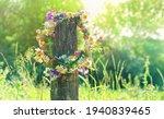 Rustic wildflowers wreath on...