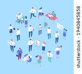 isomeric cartoon office people...   Shutterstock .eps vector #1940845858