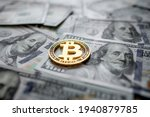 Golden Symbolic Coin Bitcoin On ...