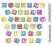 letter blocks font. 3d children ... | Shutterstock .eps vector #1940932555