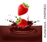 Raster version. Appetizing strawberries dipping into chocolate with splashes - stock photo