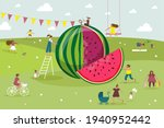 big cut watermelon and people.... | Shutterstock .eps vector #1940952442