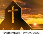 Catholic cross on sunset...