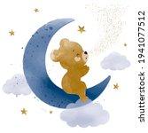 cute teddy bear on the moon... | Shutterstock .eps vector #1941077512