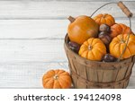 Mini Pumpkins And Chestnuts In...