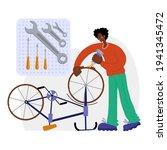 bicycle repair. a black man...   Shutterstock .eps vector #1941345472