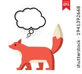 cute cartoon fox with thought...