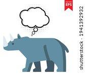 cute cartoon rhinoceros with...