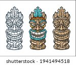 trendy hawaii wooden tiki mask... | Shutterstock .eps vector #1941494518