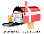 Mailbox With Danish Flag With...