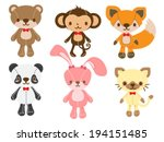 Stock vector set of animal dolls 194151485
