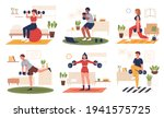 sport at home scenes set.... | Shutterstock .eps vector #1941575725
