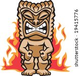 angry,brown,carving,exotic,face,fierce,fire,flame,god,grimace,hawaii,hawaiian,idol,illustration,indigenous