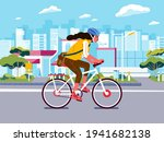 girl cycling on the road. young ... | Shutterstock .eps vector #1941682138