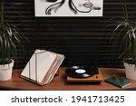 Stylish Turntable With Vinyl...