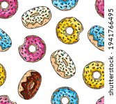 donuts with pink glaze ... | Shutterstock .eps vector #1941766495