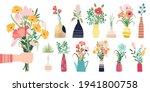 fresh flowers bouquets. summer... | Shutterstock .eps vector #1941800758