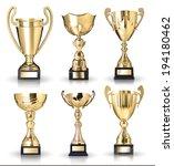 set of golden trophies.... | Shutterstock . vector #194180462