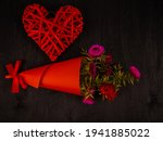 Bouquet Of Flowers In Red Paper ...