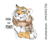 tiger in the checkered scarf.... | Shutterstock .eps vector #1941931732