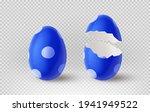 blue cracked egg isolated on... | Shutterstock .eps vector #1941949522