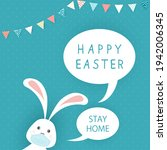 cute easter rabbit with medical ...   Shutterstock .eps vector #1942006345
