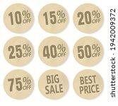 cardboard discount sticker set. ... | Shutterstock .eps vector #1942009372