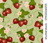 pattern with strawberries and...   Shutterstock .eps vector #1942026055