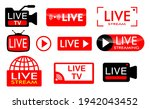 set of live streaming icon or... | Shutterstock .eps vector #1942043452