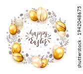 holiday card with golden easter ...   Shutterstock .eps vector #1942048675