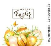 black lettering happy easter...   Shutterstock .eps vector #1942048678