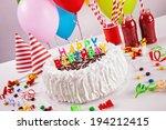 Birthday Cake On Colorful...