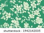 rose flower pattern on green... | Shutterstock . vector #1942142035