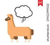 cute cartoon alpaca with...