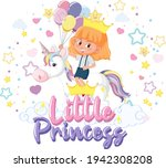 little girl riding pegasus with ... | Shutterstock .eps vector #1942308208