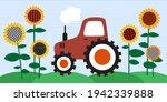 tractor in a sunflower field. ... | Shutterstock .eps vector #1942339888