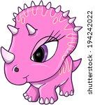 cute pink dinosaur vector... | Shutterstock .eps vector #194242022