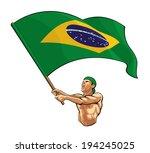 brazilian fan waving flag | Shutterstock .eps vector #194245025