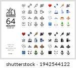 64 healthy icons set vector...   Shutterstock .eps vector #1942544122