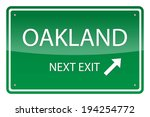 Green road sign, vector - Oakland