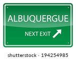 Green road sign, vector - Aluquerque