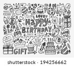 doodle birthday party background | Shutterstock .eps vector #194256662