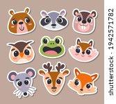 animal stickers in cartoon...   Shutterstock .eps vector #1942571782