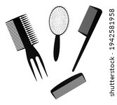 a black hair comb on a white...   Shutterstock .eps vector #1942581958