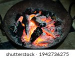 burning charcoal in an iron... | Shutterstock . vector #1942736275