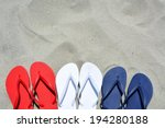 Red White And Blue Flip Flops...