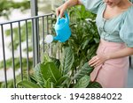 View Of A Young Woman Watering...