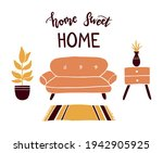 lettering quote home sweet home ... | Shutterstock .eps vector #1942905925